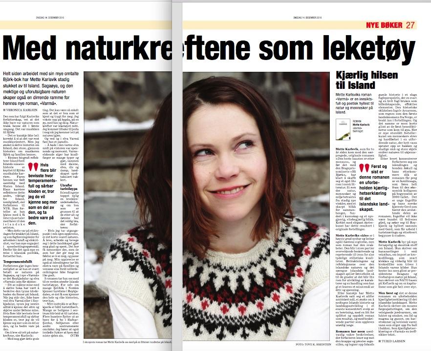 Faksimile frå Dagsavisen, desember 2016