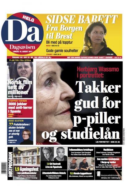 Faksimile frå Dagsavisen 19/8 - 2017. Foto: Wanda N. Nordstrøm